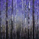 Forest, blue and gold 168 x 132 cm