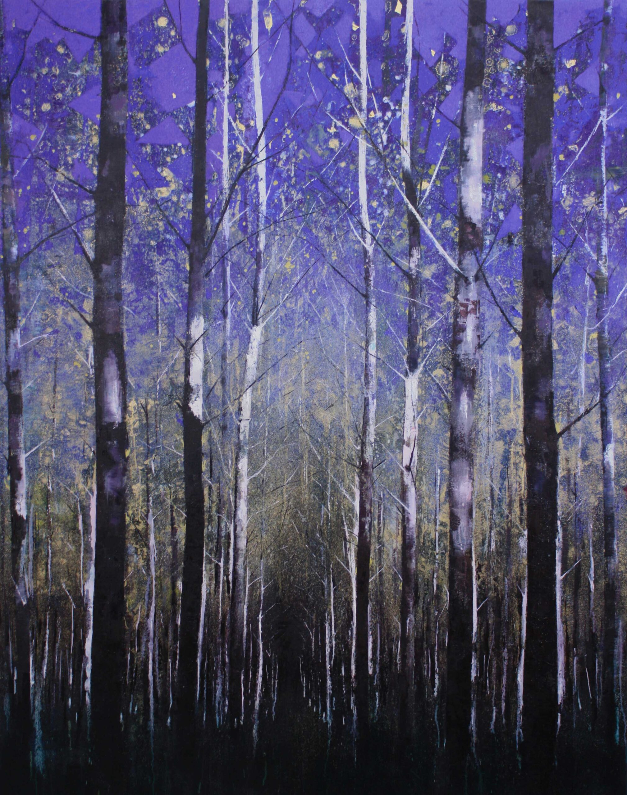 Forest, blue and gold 168 x 132 cm oil on canvas