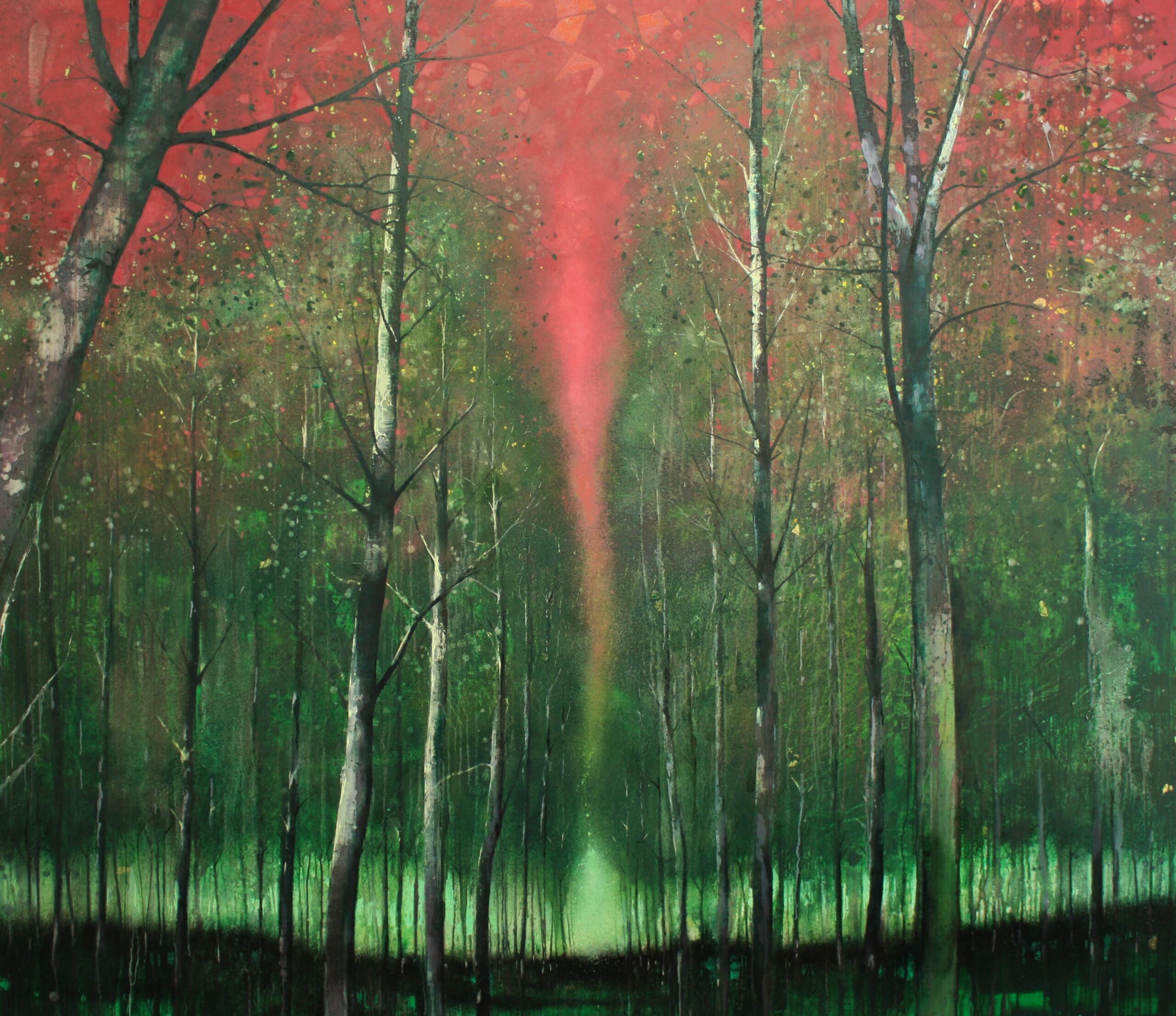 Forest edge 200 x 230 cm oil and gold leaf on canvas