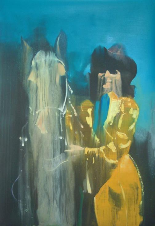 Cow girl 120 x 90 cm oil on black sandpaper