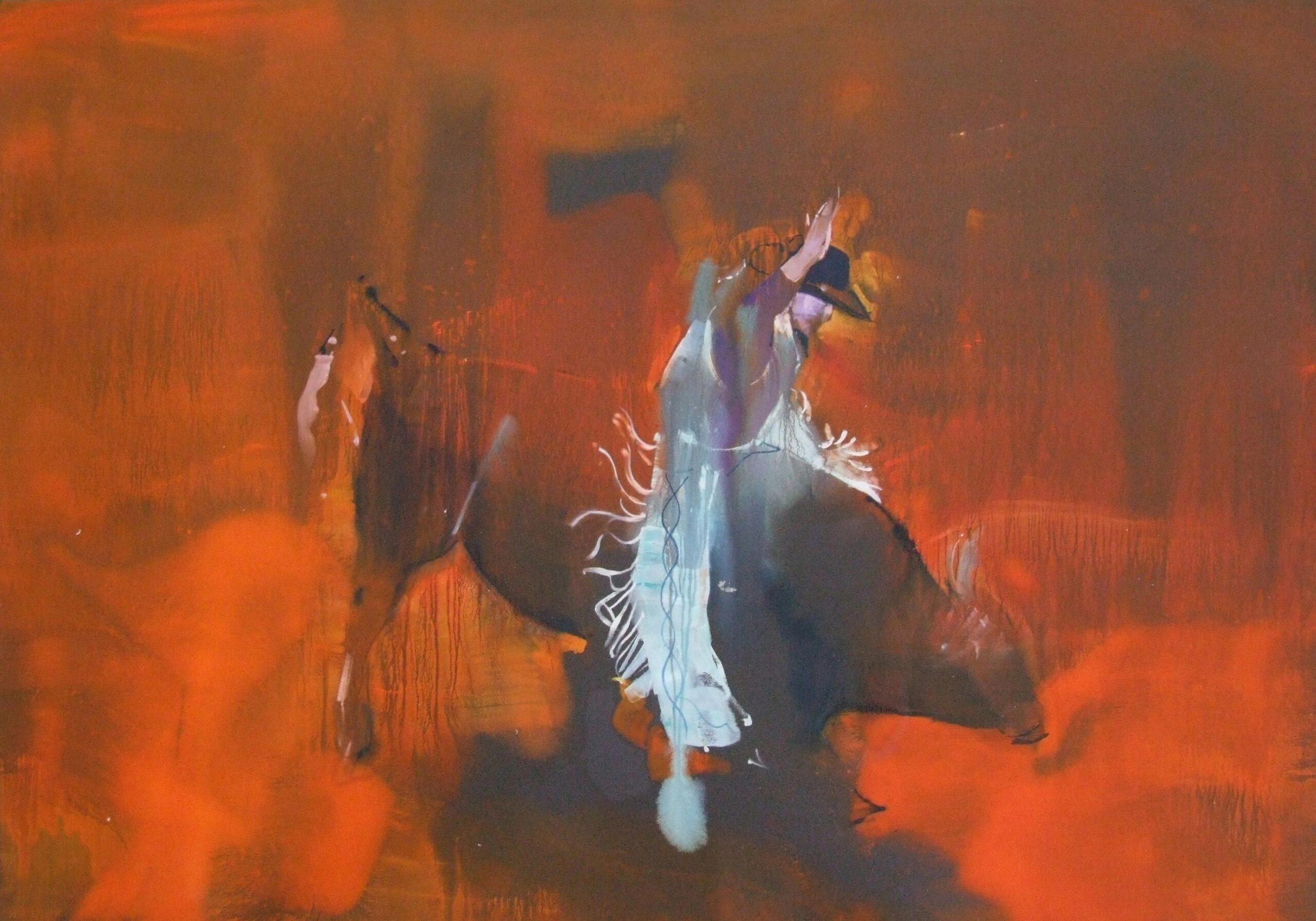 Bull rider 120 x 85 oil on black sandpaper